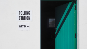 Polling Station with Green Door