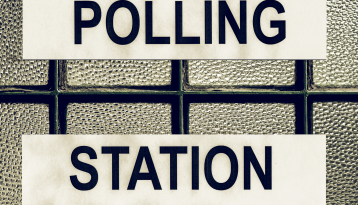 Polling Station sign Black and white