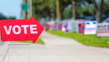 Red Vote sign