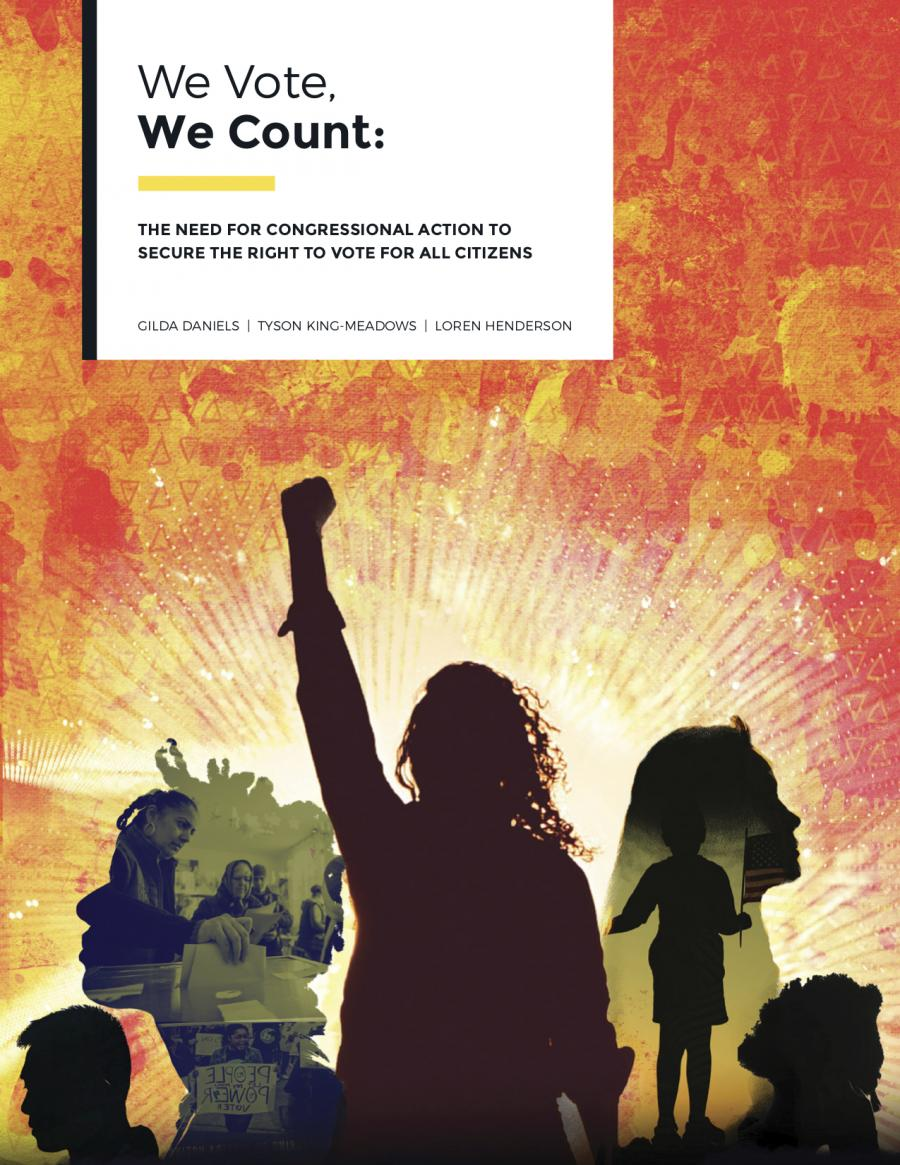 Report cover for we vote we count, silhouette with fist raised.